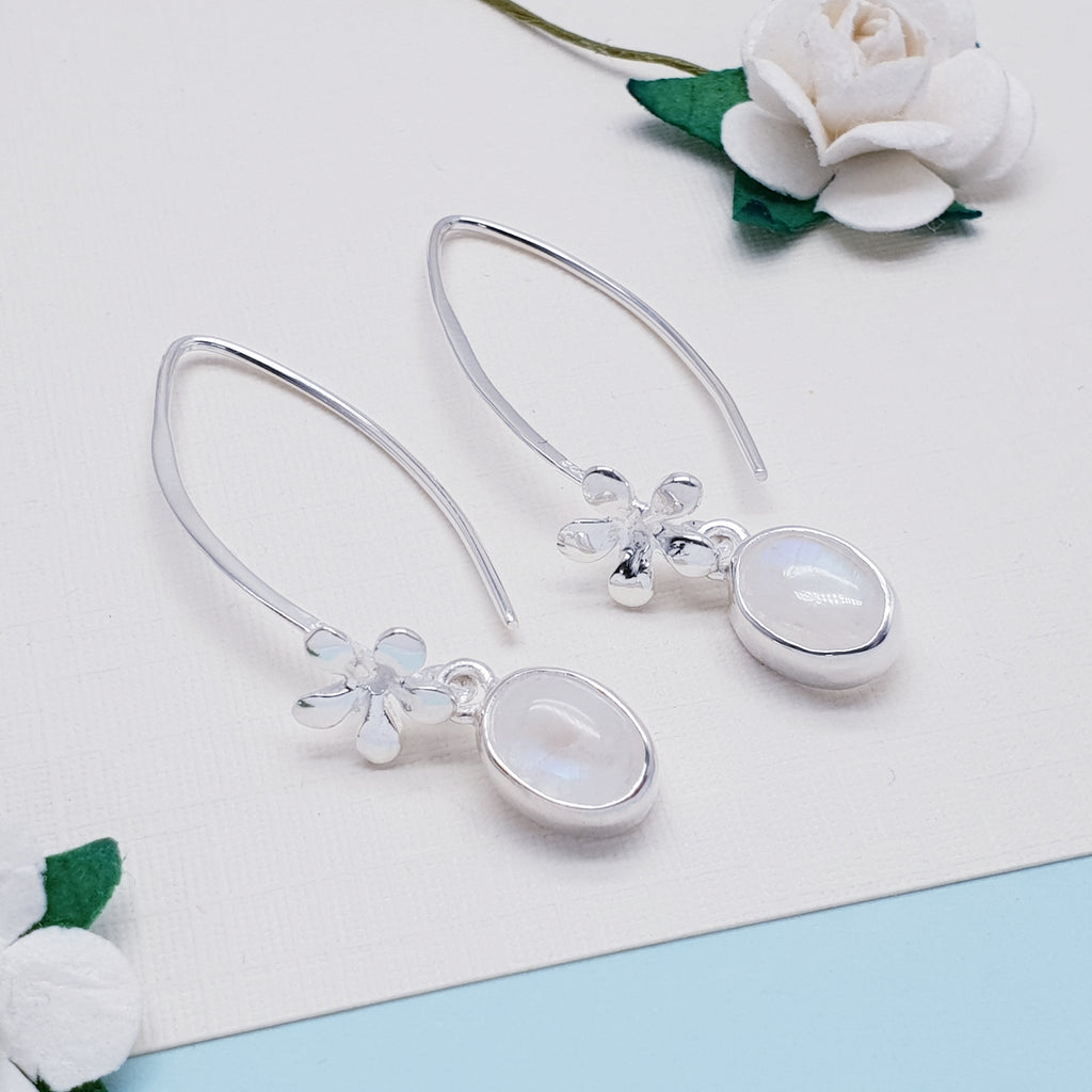 Moonstone Periwinkle Earrings