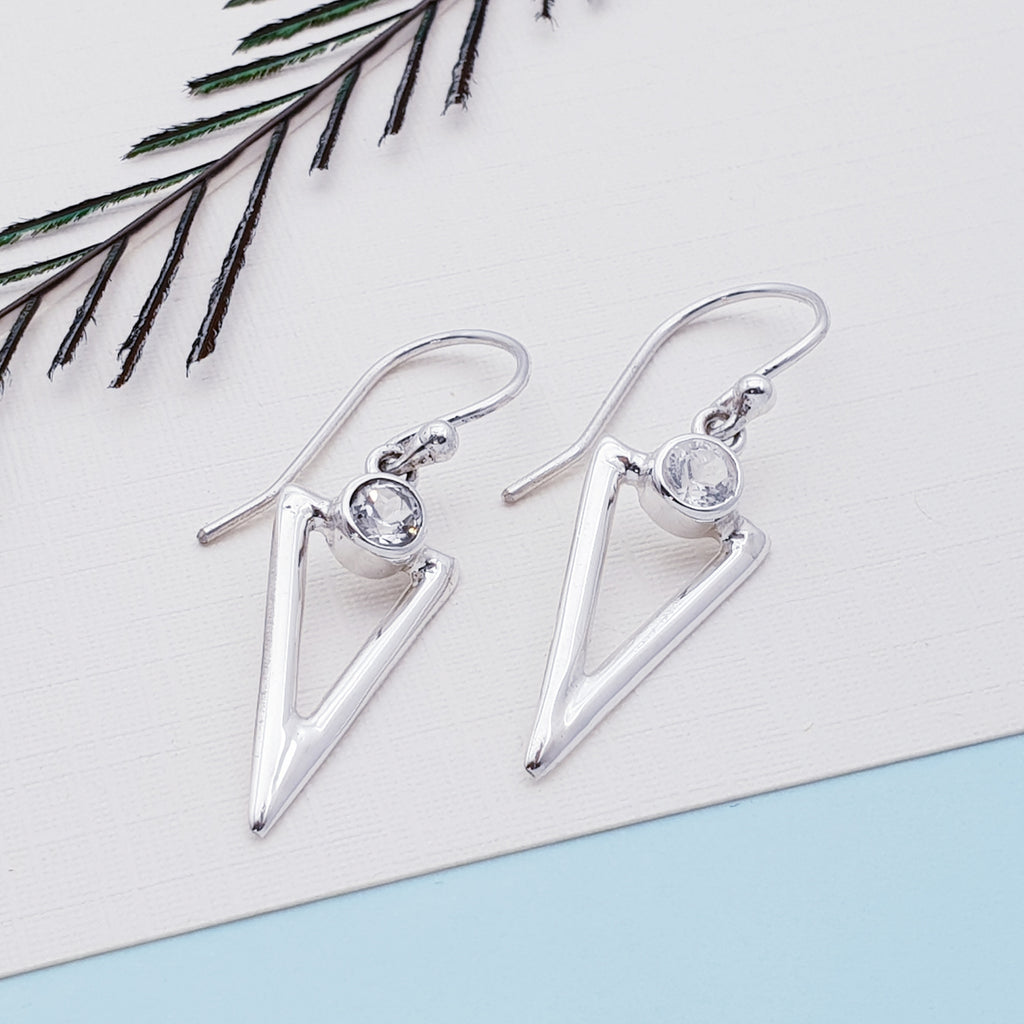 Moonstone Acute Triangle Earrings