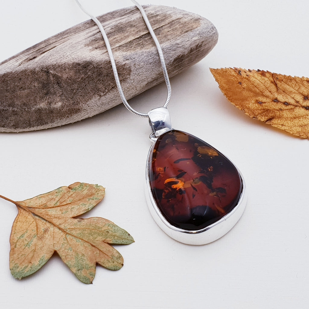 Amber Free Form Dark Toffee Pendant