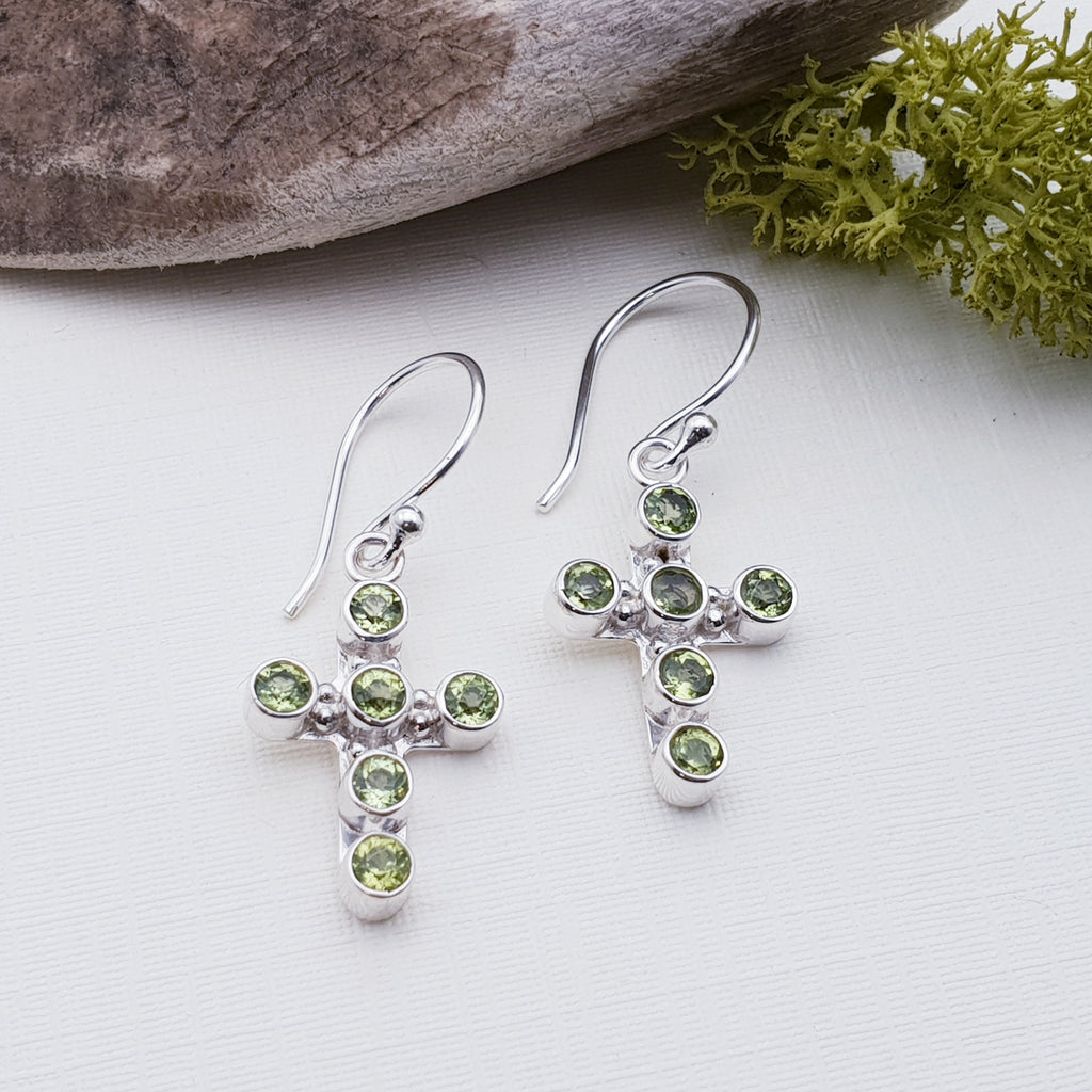 Peridot Cross Earrings