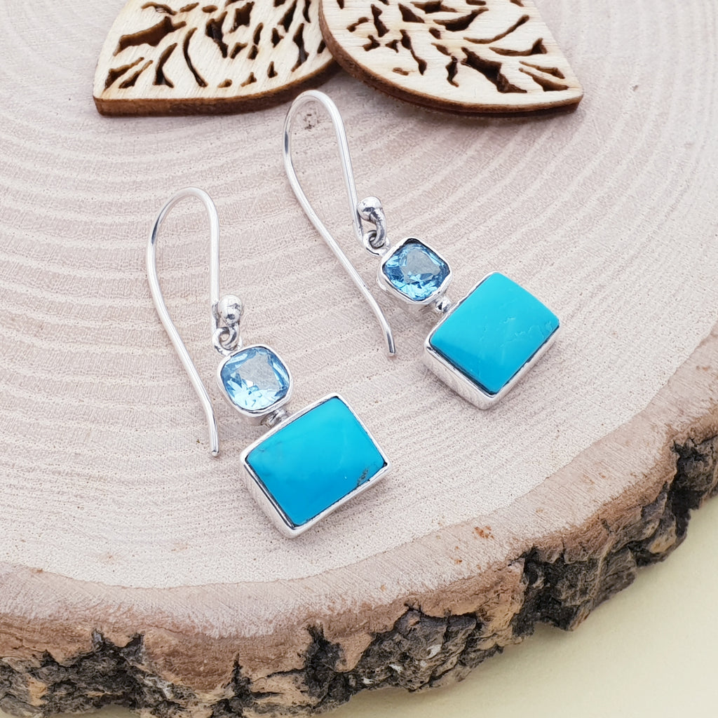 Turquoise and Blue Topaz Rectangle Earrings