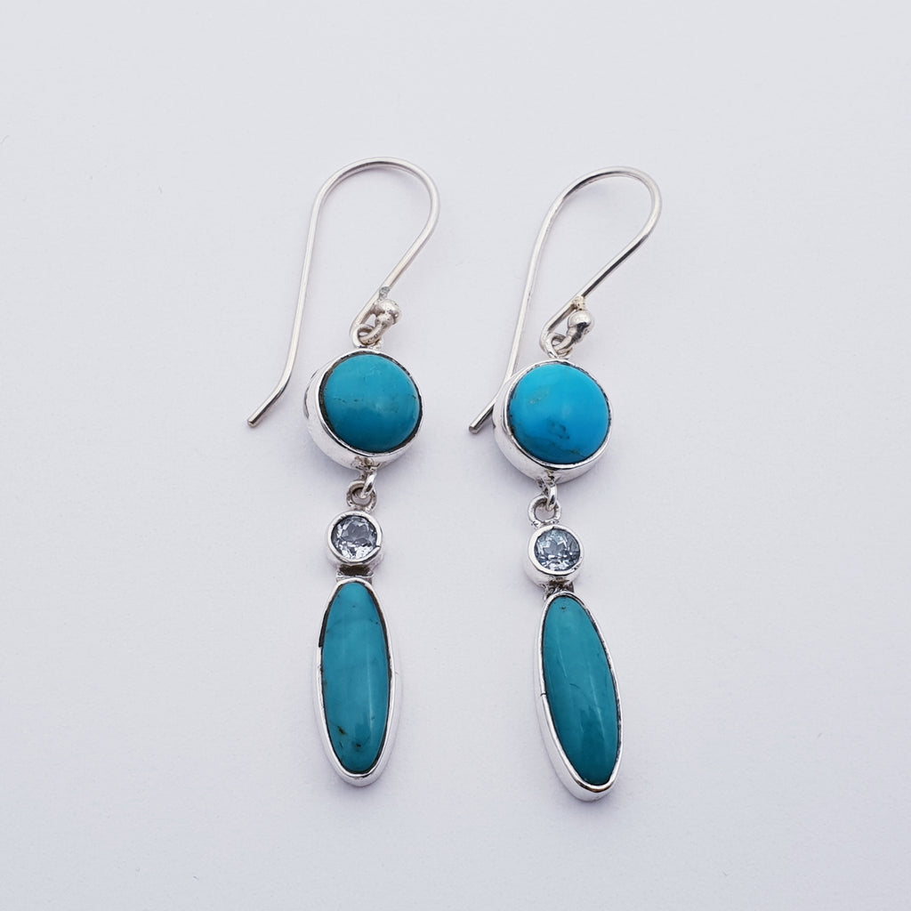 Turquoise and Blue Topaz Nanook Earrings