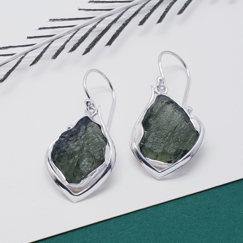One-off Moldavite Earrings