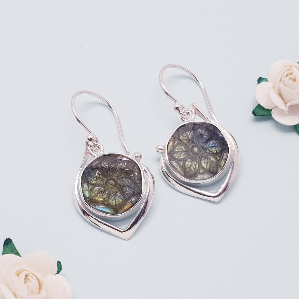 Labradorite Sumptuous Carved Flower Earrings