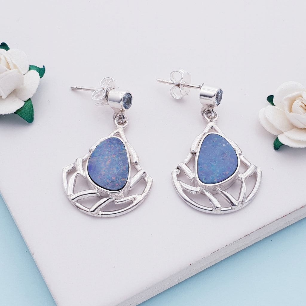 One-off Opal and Blue Topaz Persephone Earrings