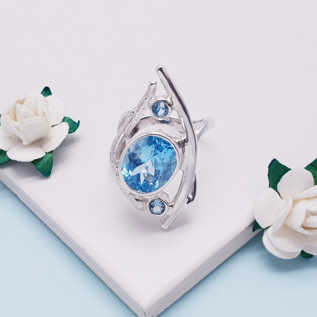 Blue Topaz Trinity Ring