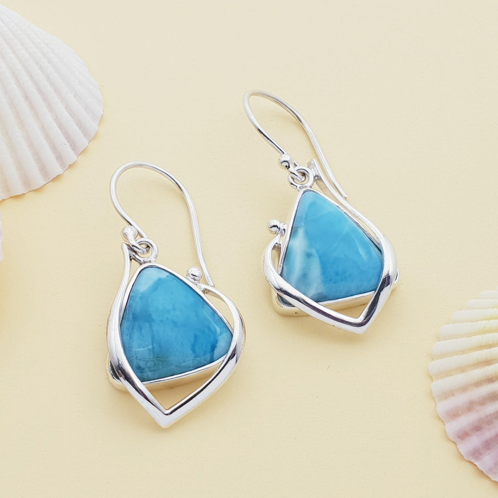 One-off Larimar Dewdrop Triangle Earrings