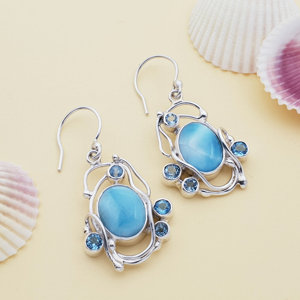 One-off Larimar and Blue Topaz Apate Earrings