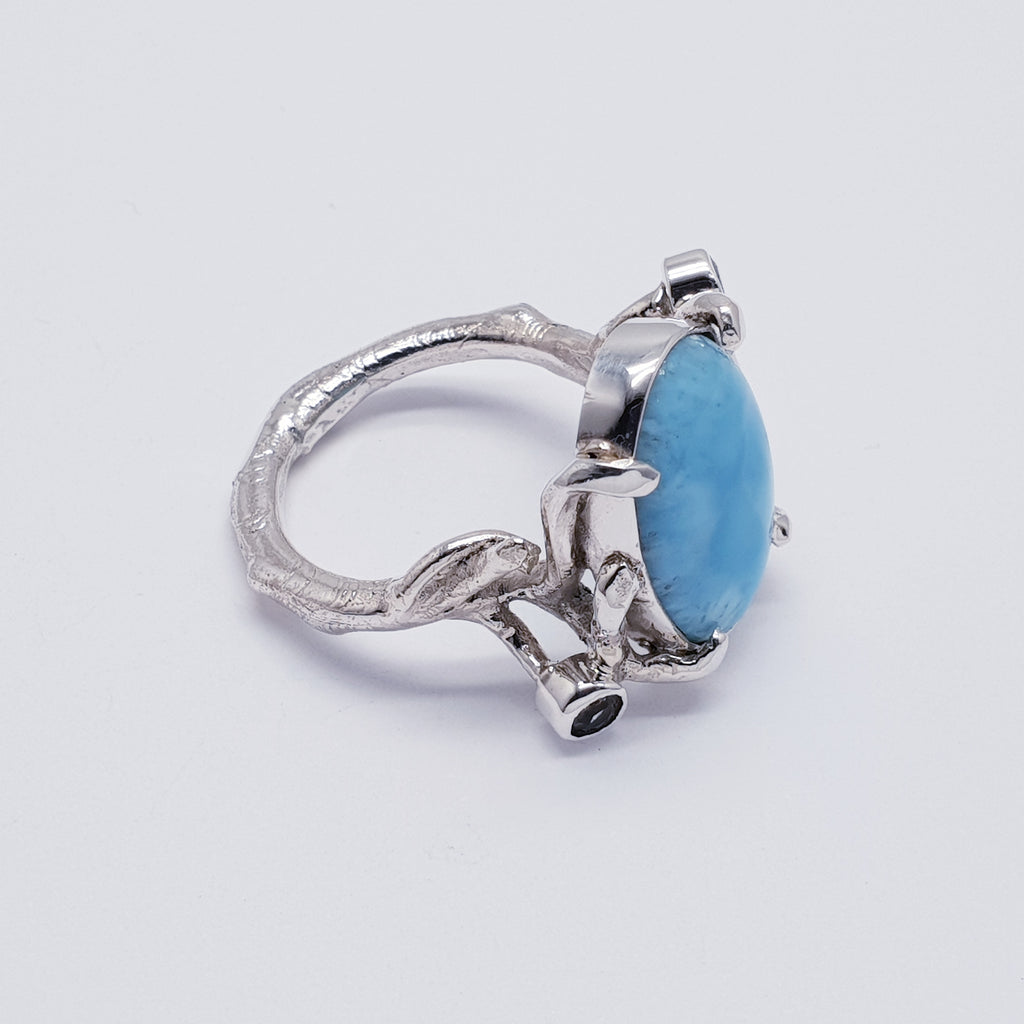 One-off Larimar Twig Ring - Size Q