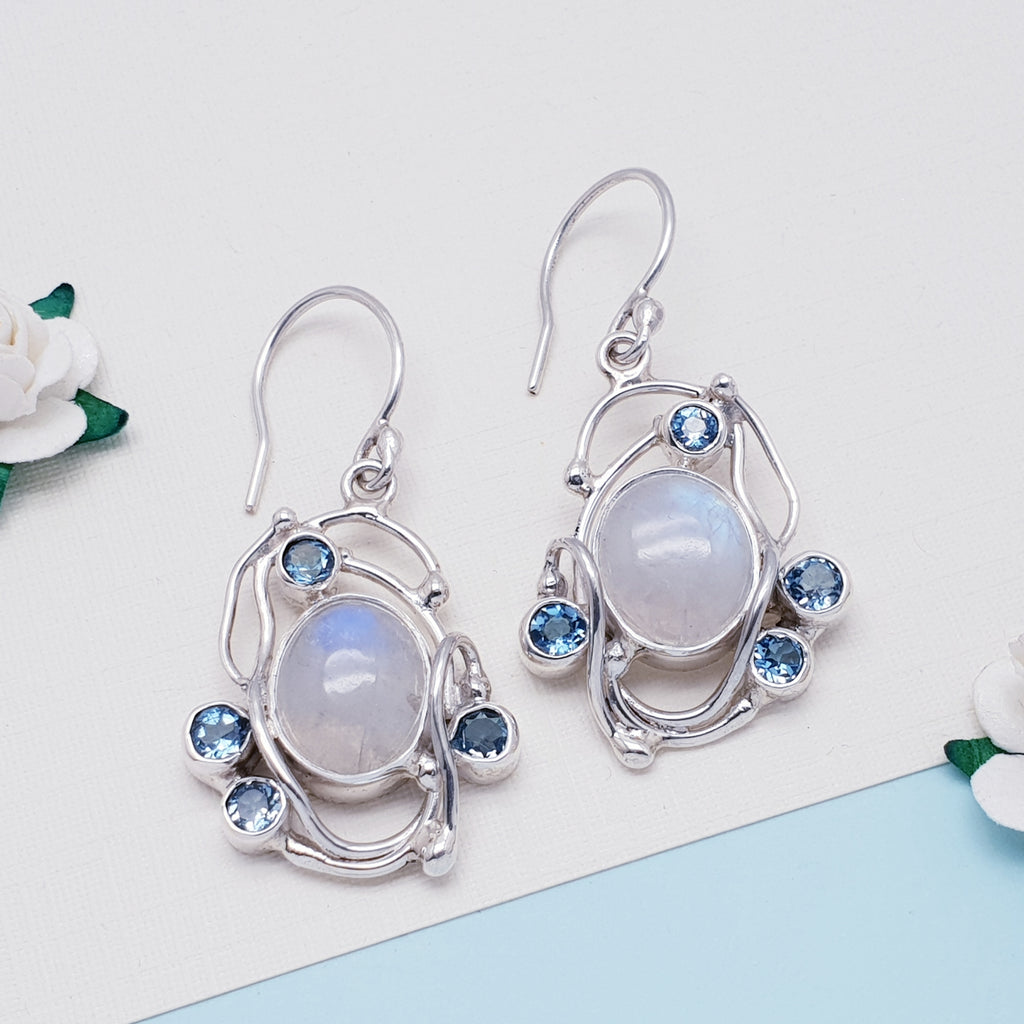 One-off Moonstone and Blue Topaz Apate Earrings