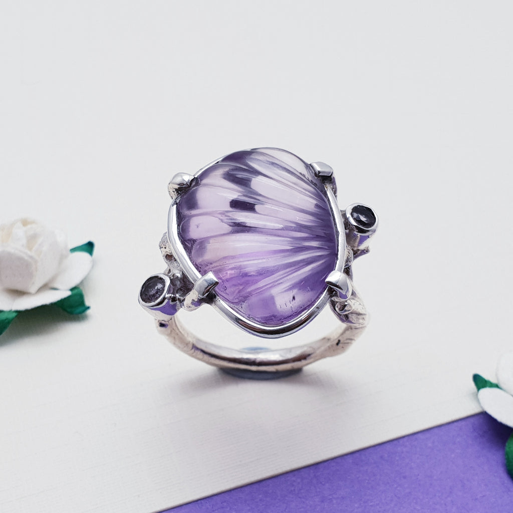 One-off Amethyst Carved Twig Ring