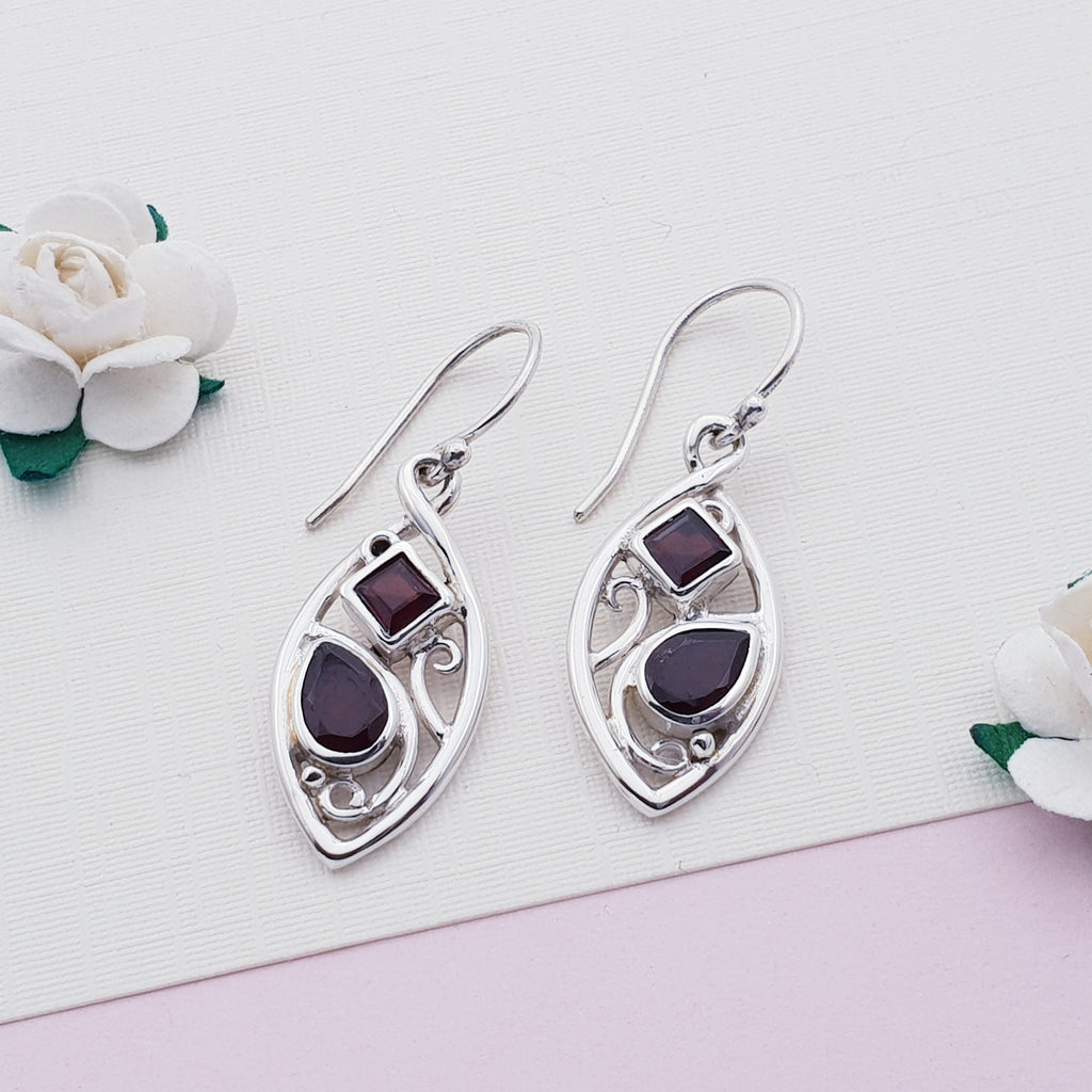 Garnet Art Nouveau Earrings