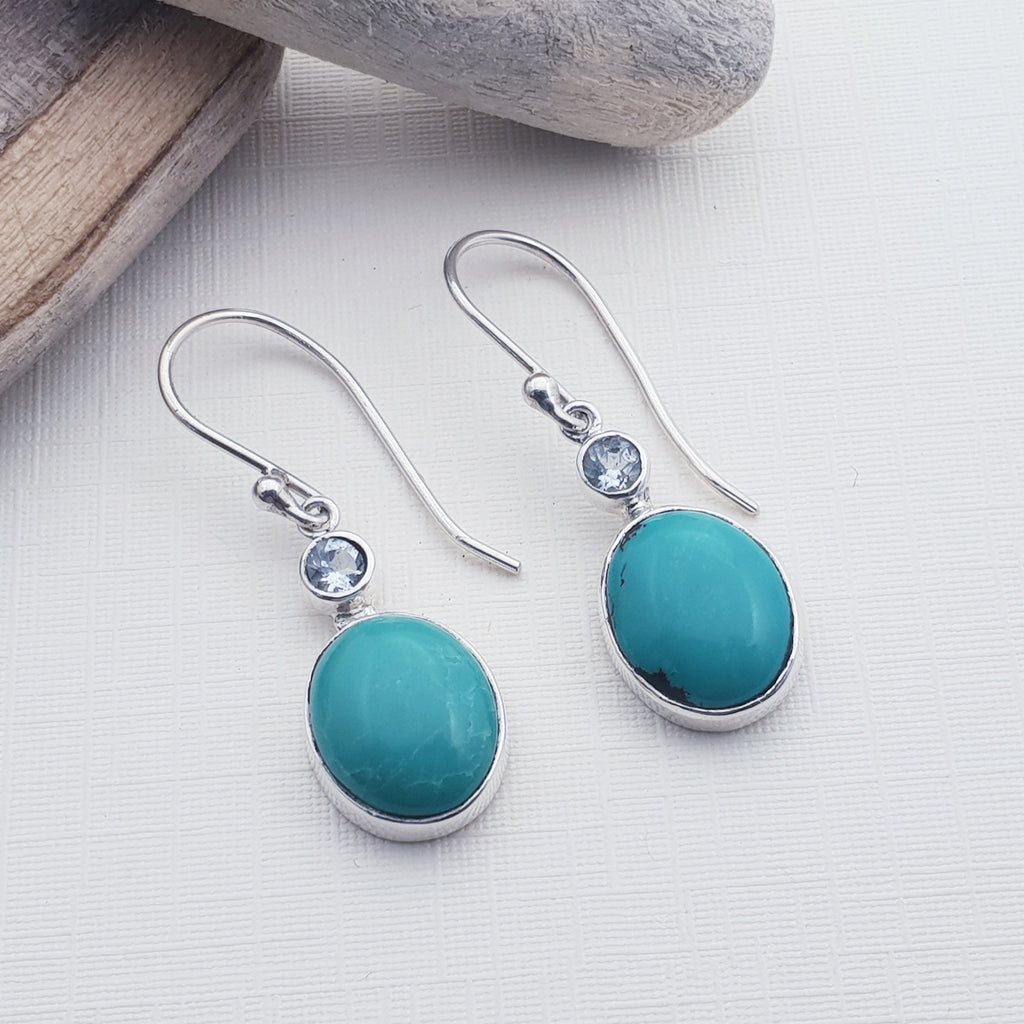 Turquoise and Blue Topaz Oval Earrings