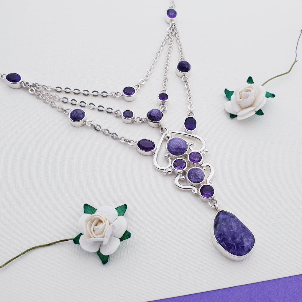 One-off Charoite and Amethyst Multilayer Necklace