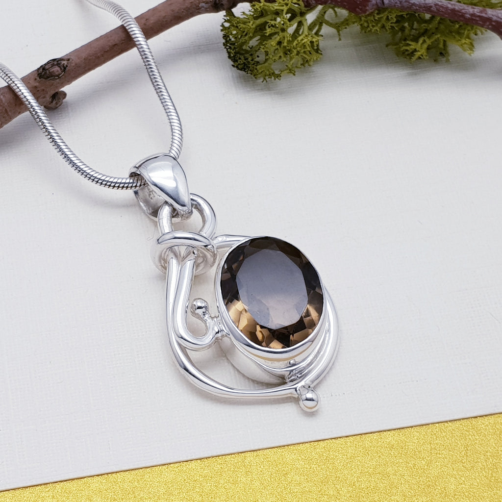 Smoky Quartz Silver Loop Pendant