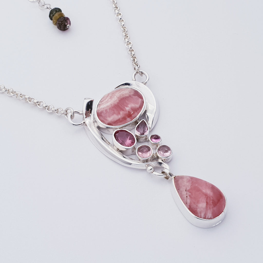 Rhodochrosite and Tourmaline Asymmetry Necklace