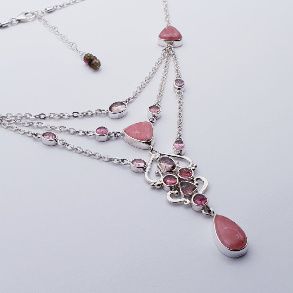 One-off Rhodochrosite and Tourmaline Multilayer Necklace