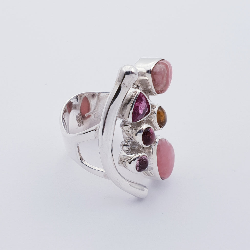 Rhodochrosite and Tourmaline Atea Ring