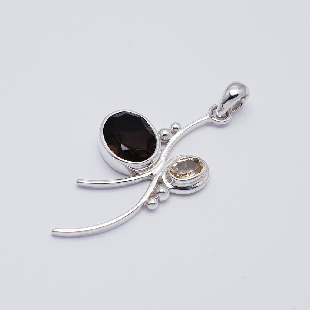Smoky Quartz and Citrine Bow Pendant