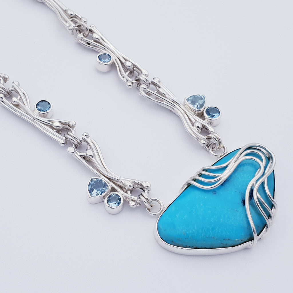 One-off Turquoise and Blue Topaz Shalim Necklace