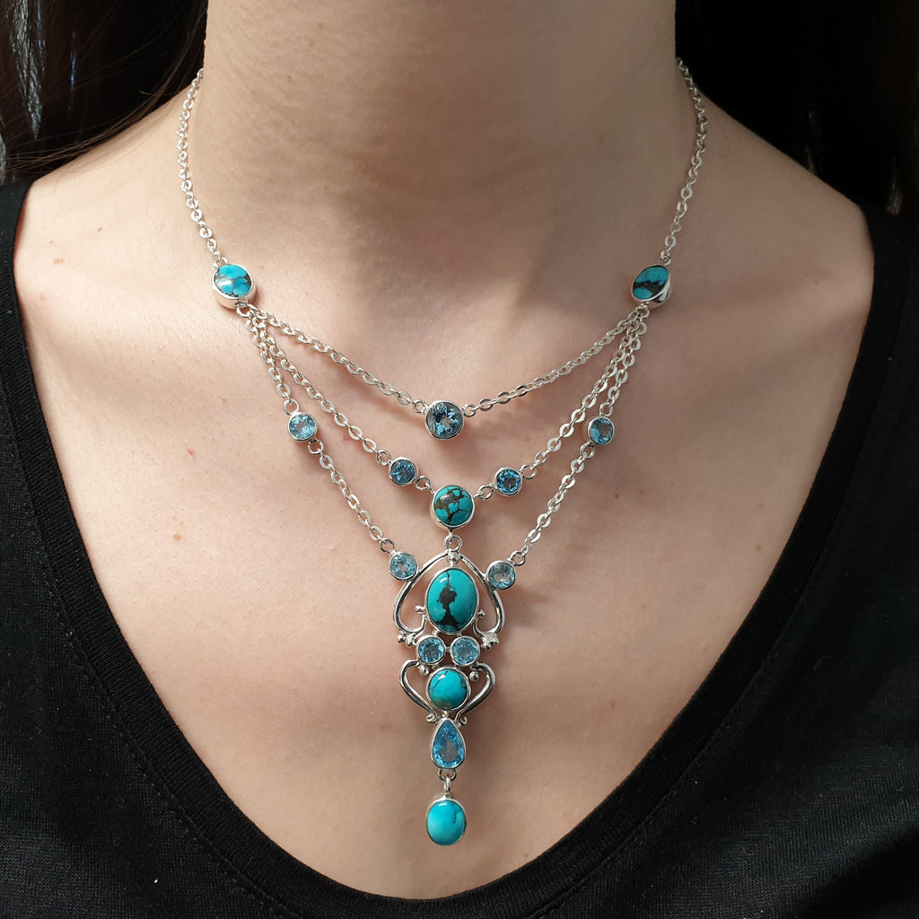 One-off Turquoise and Blue Topaz Multilayer Necklace