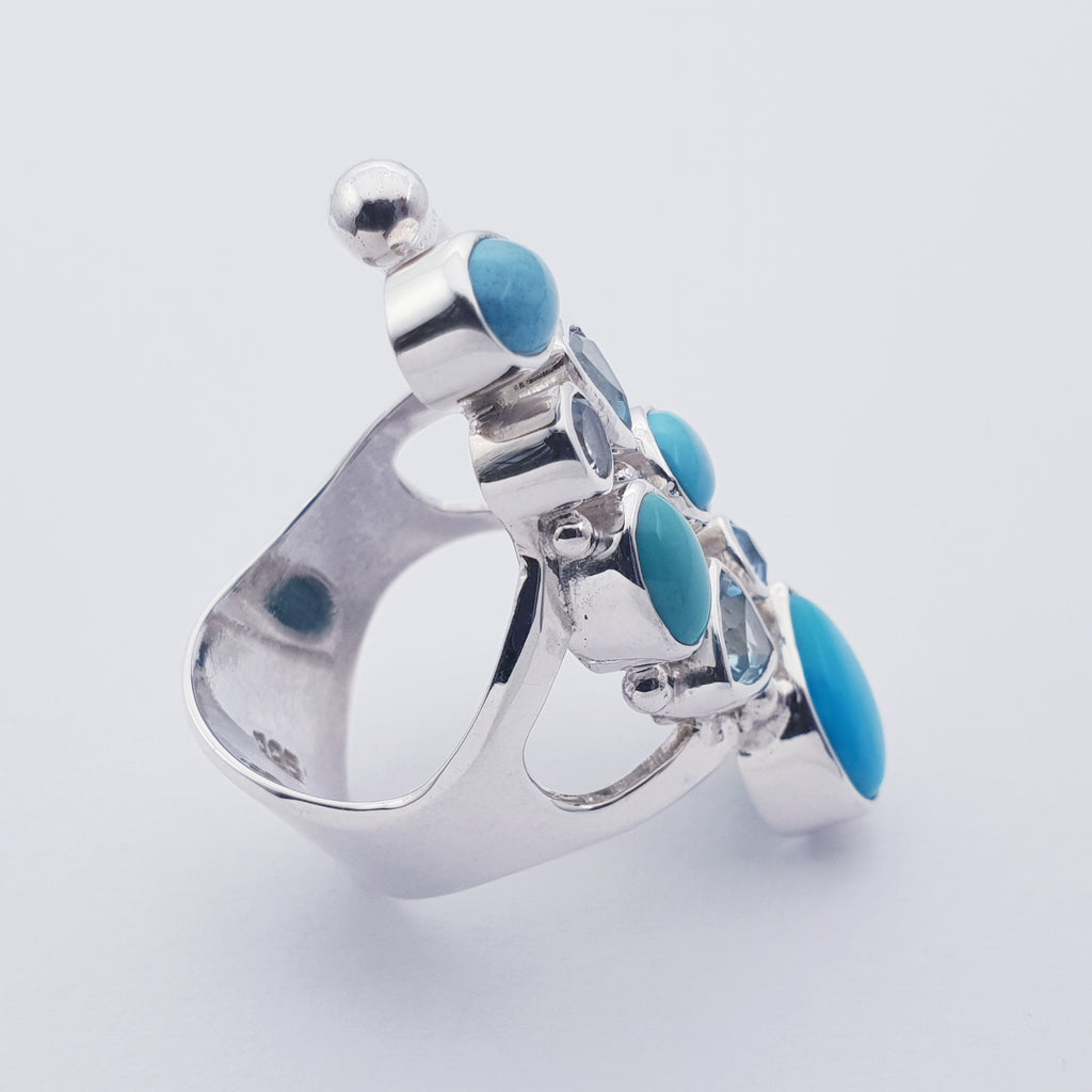 Turquoise and Blue Topaz Atea Ring