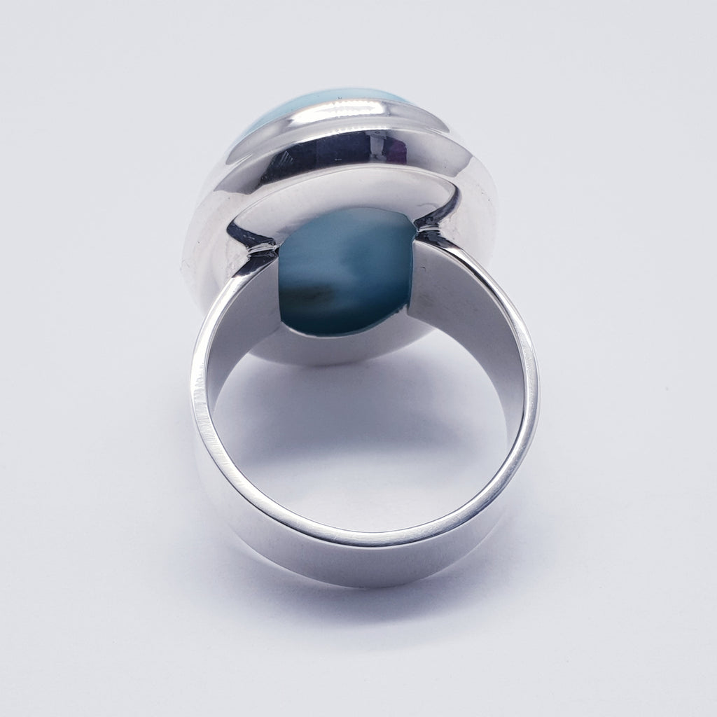 Larimar Simple Oval Ring