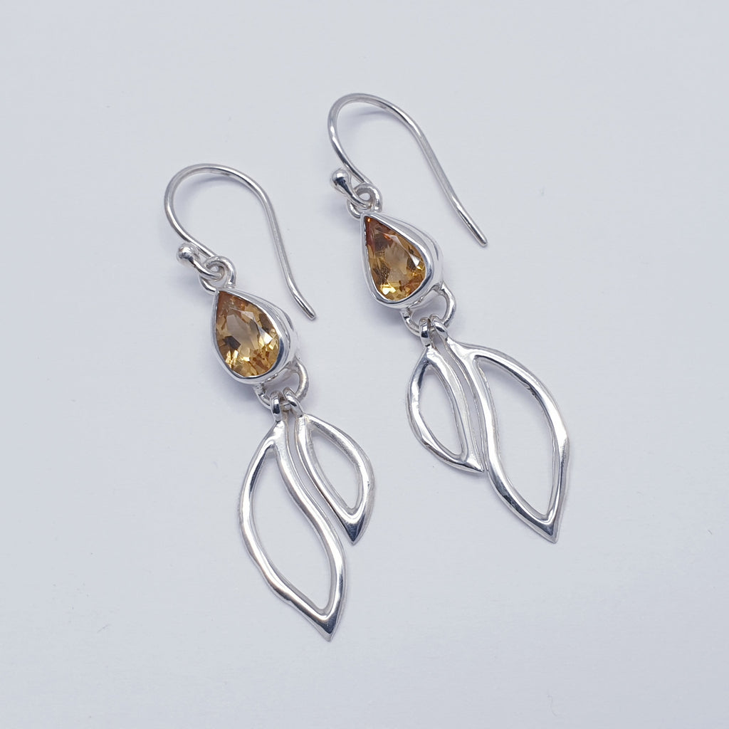 Citrine Teardrop Double Leaf Earrings