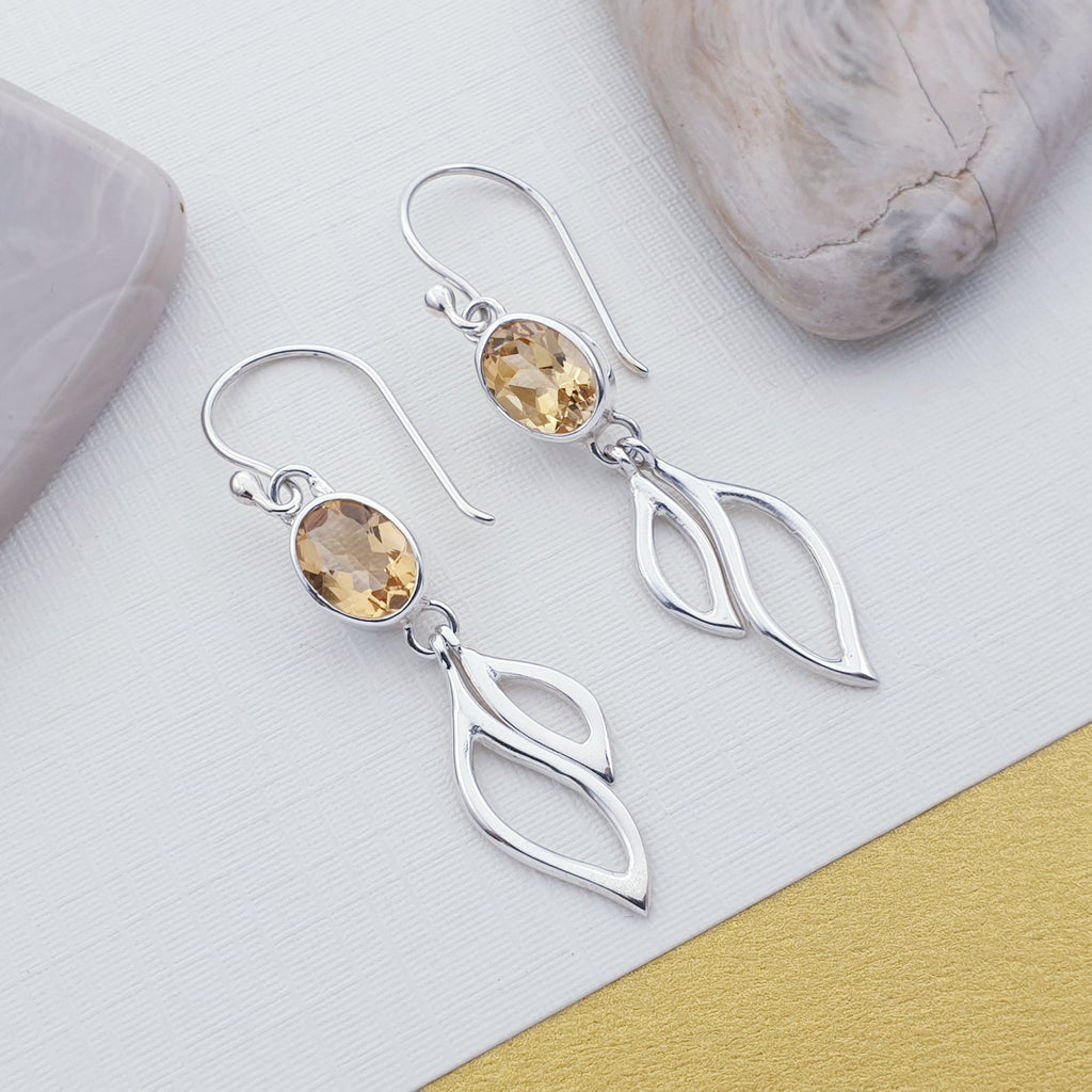 Citrine Oval Double Leaf Earrings