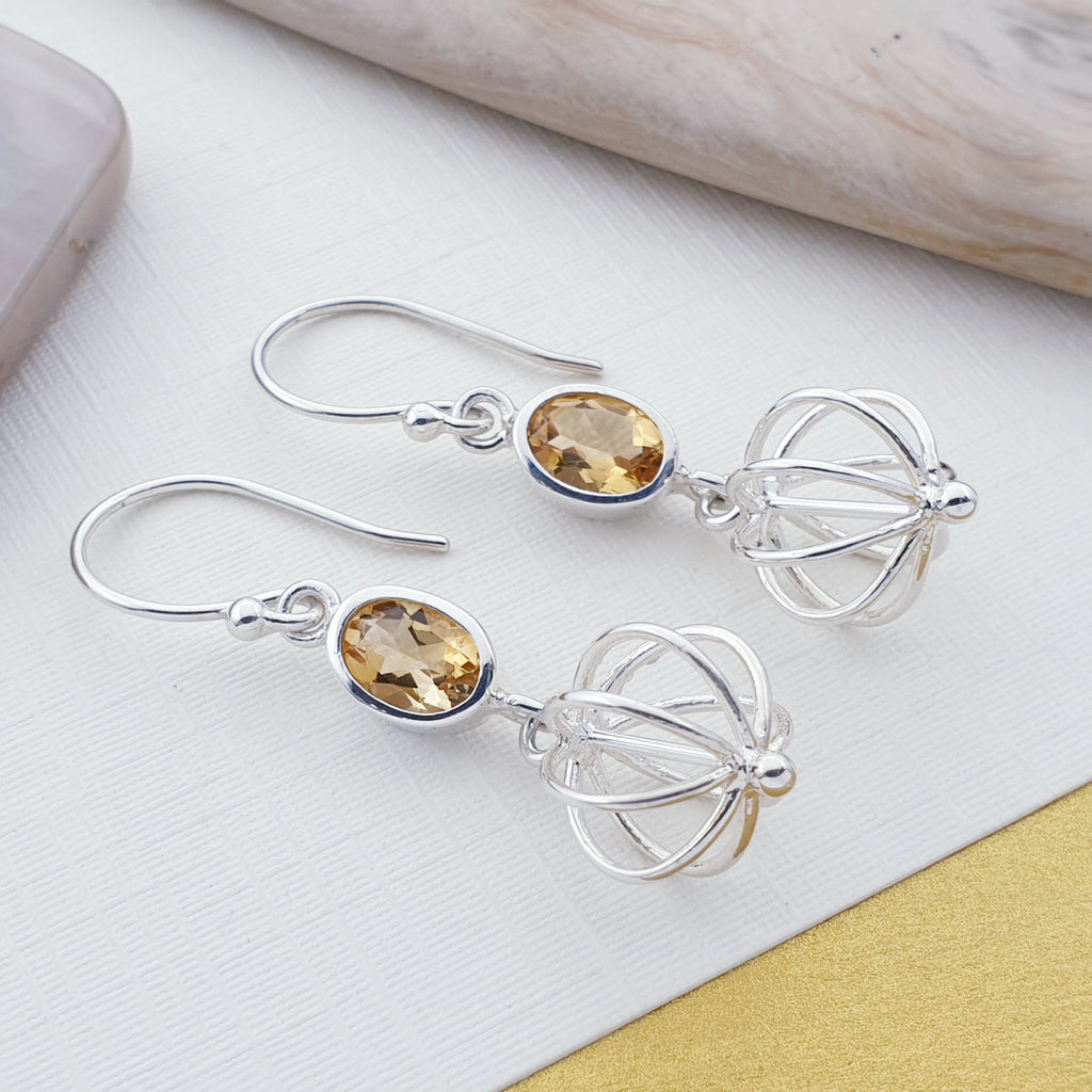 Citrine Globe Earrings