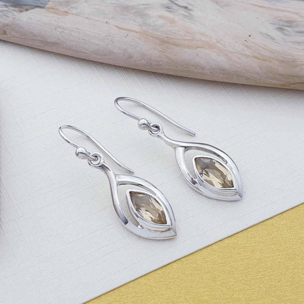 Citrine Simple Teardrop Earrings