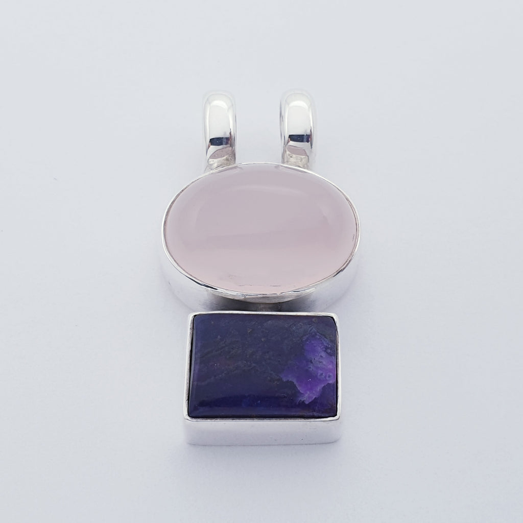 Rose Quartz and Sugilite Stacked Pendant