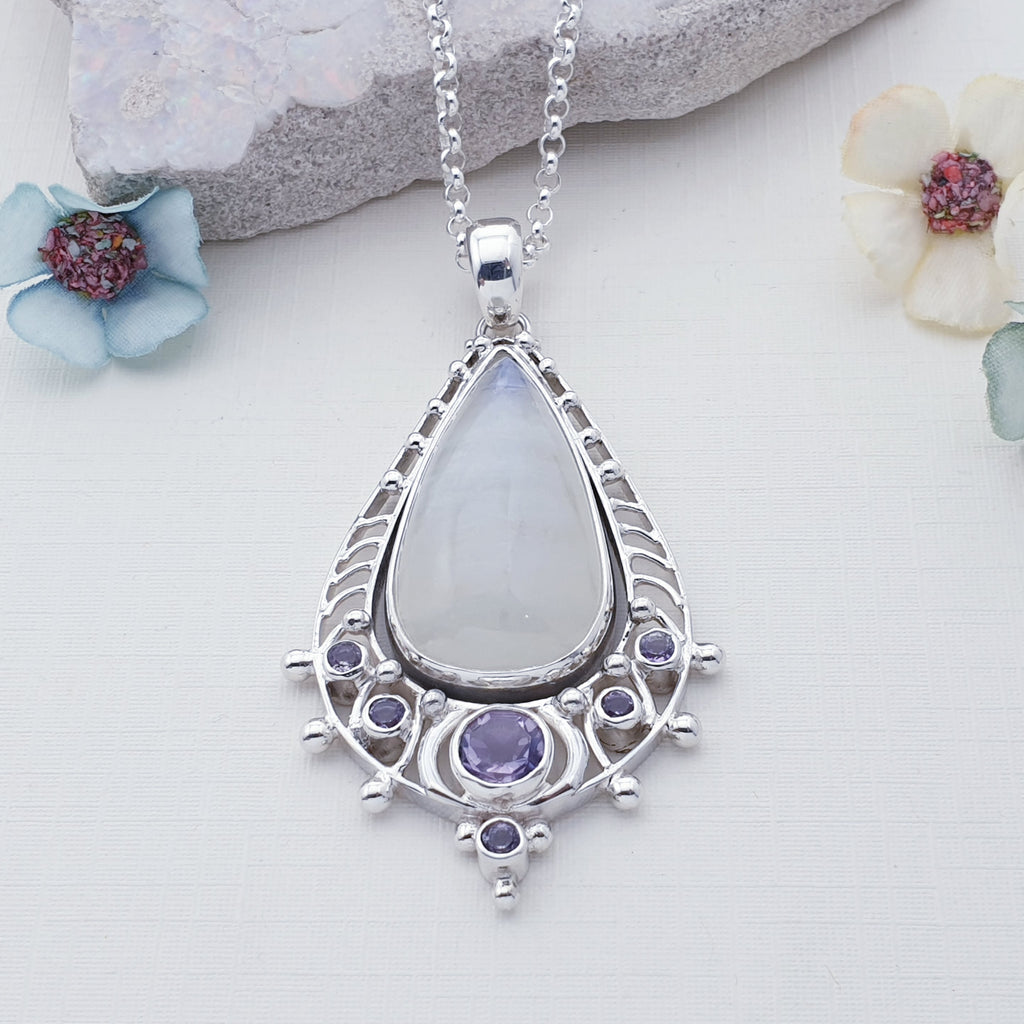 Moonstone and Amethyst Adonis Pendant