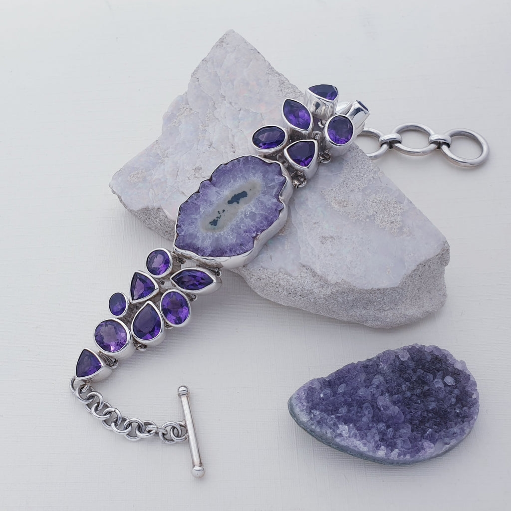 One-off Amethyst Stalactite Flower Bracelet