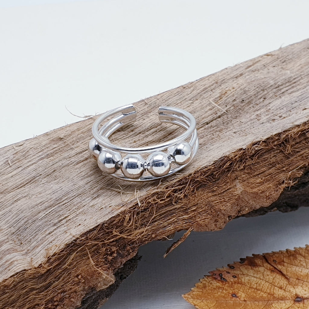 Silver Multiball Toe Ring