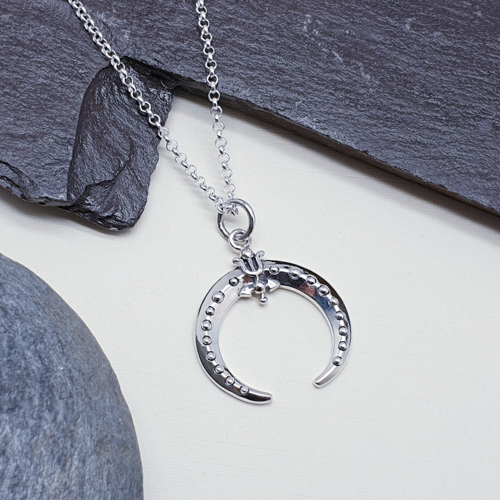 Silver Simple Inverted Moon Pendant