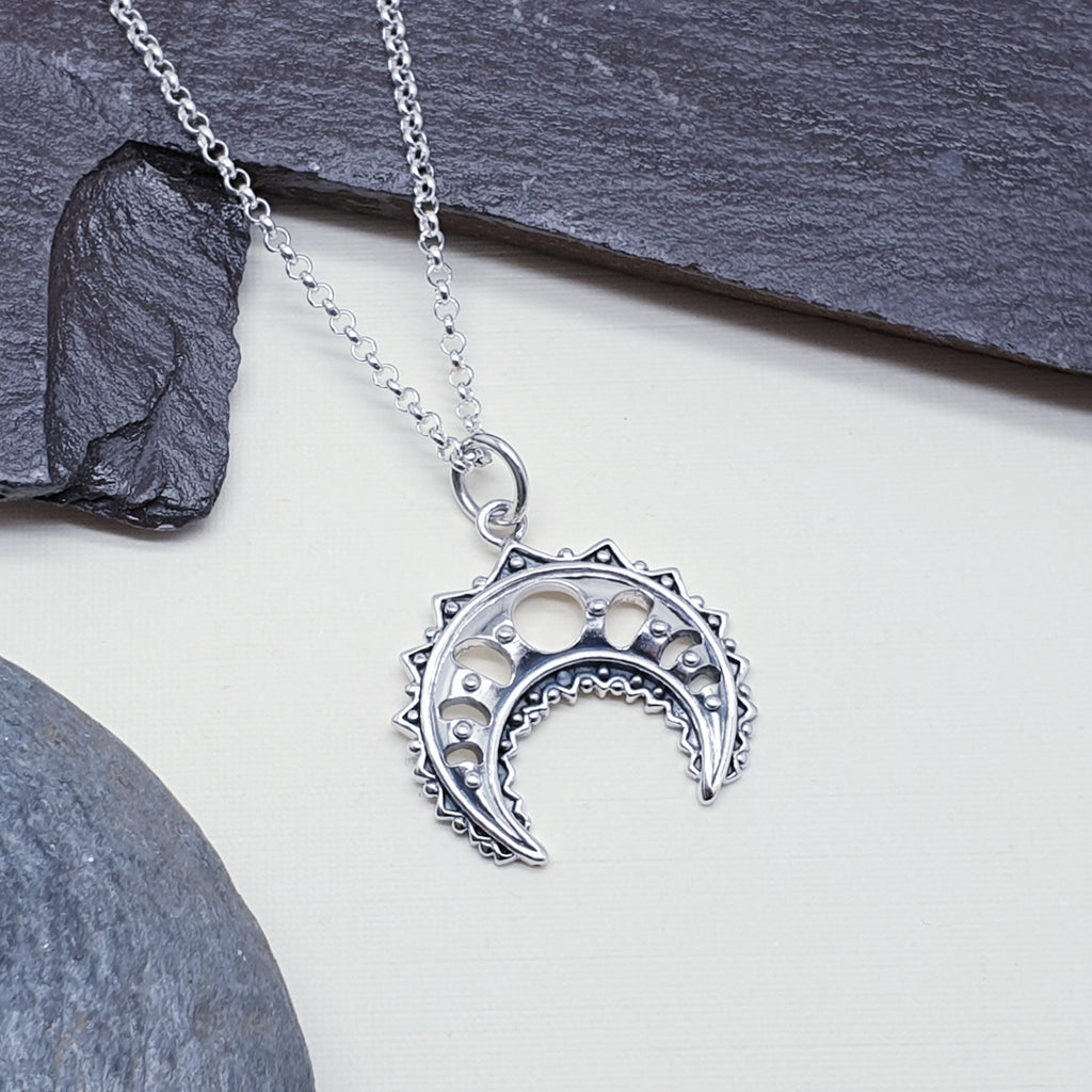 Silver Intricate Inverted Moon Pendant