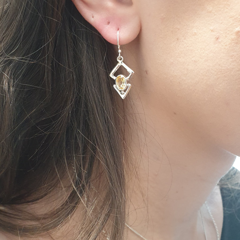 Citrine Triangulum Earrings