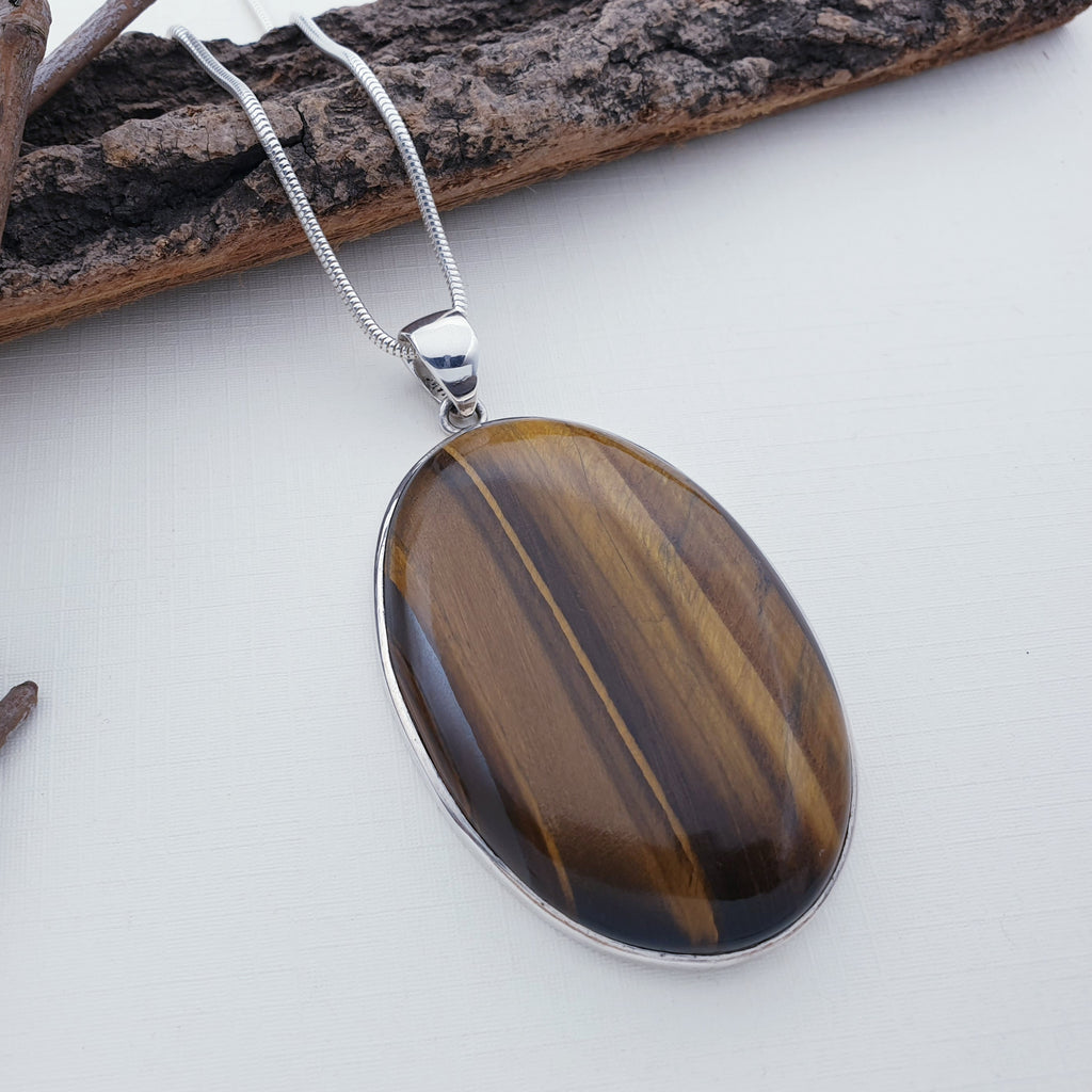 One-off Tiger's Eye Large Simple Pendant