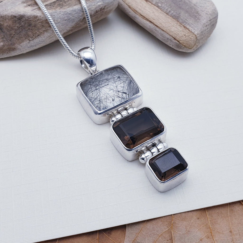 One-off Tourmalinated Quartz and Smoky Quartz Hinged Pendant