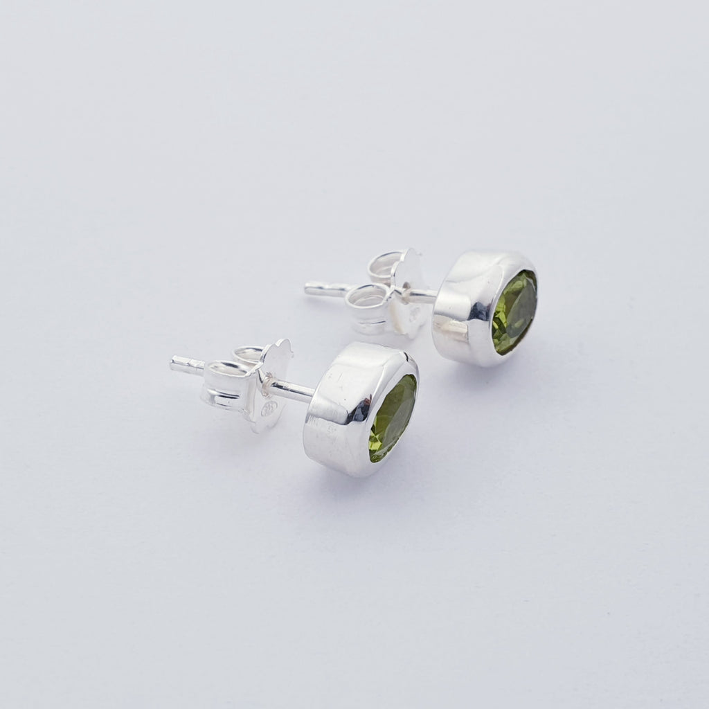 Peridot Oval Faceted Studs