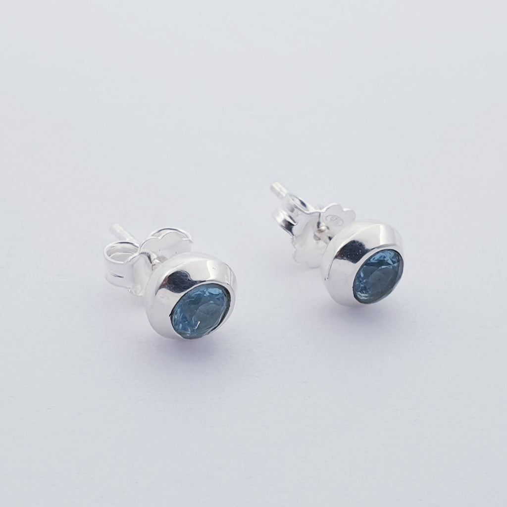 Blue Topaz Round Faceted Studs