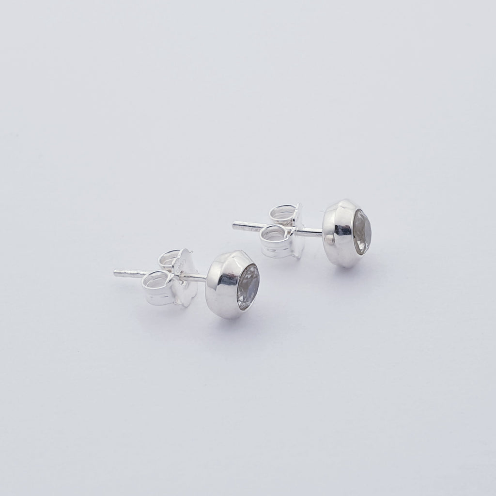 Moonstone Round Faceted Studs