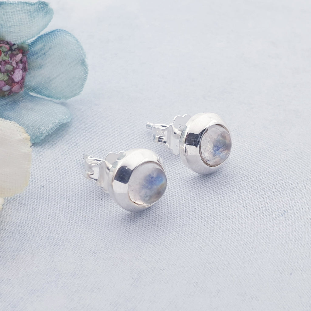 Moonstone Round Cabochon Studs