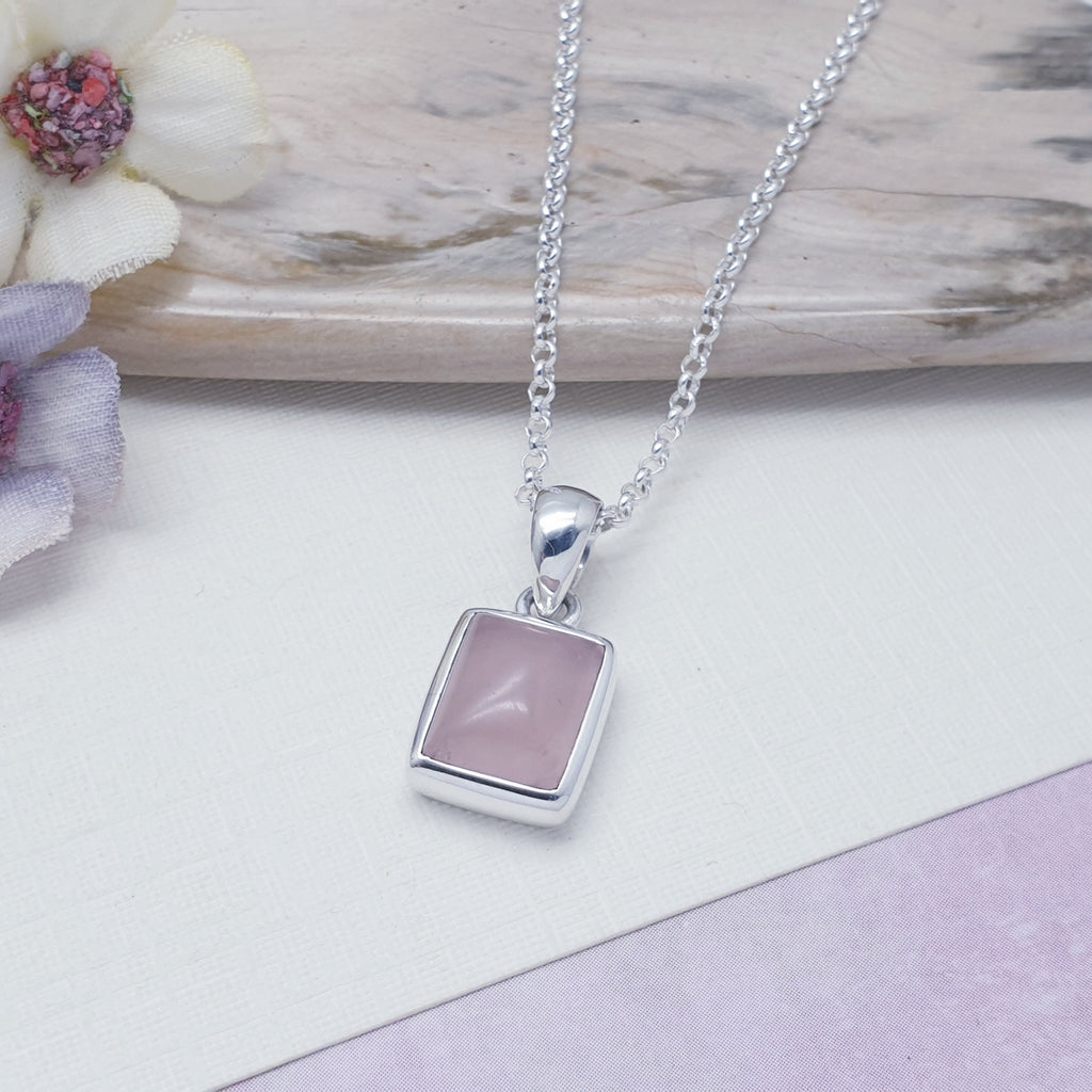 Rose Quartz Small Simple Rectangle Pendant