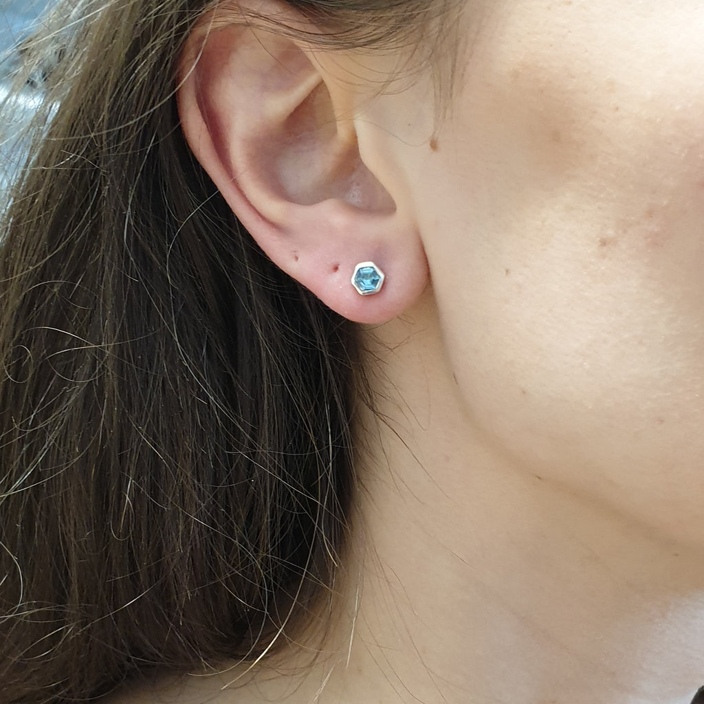 Blue Topaz Hexagonal Studs