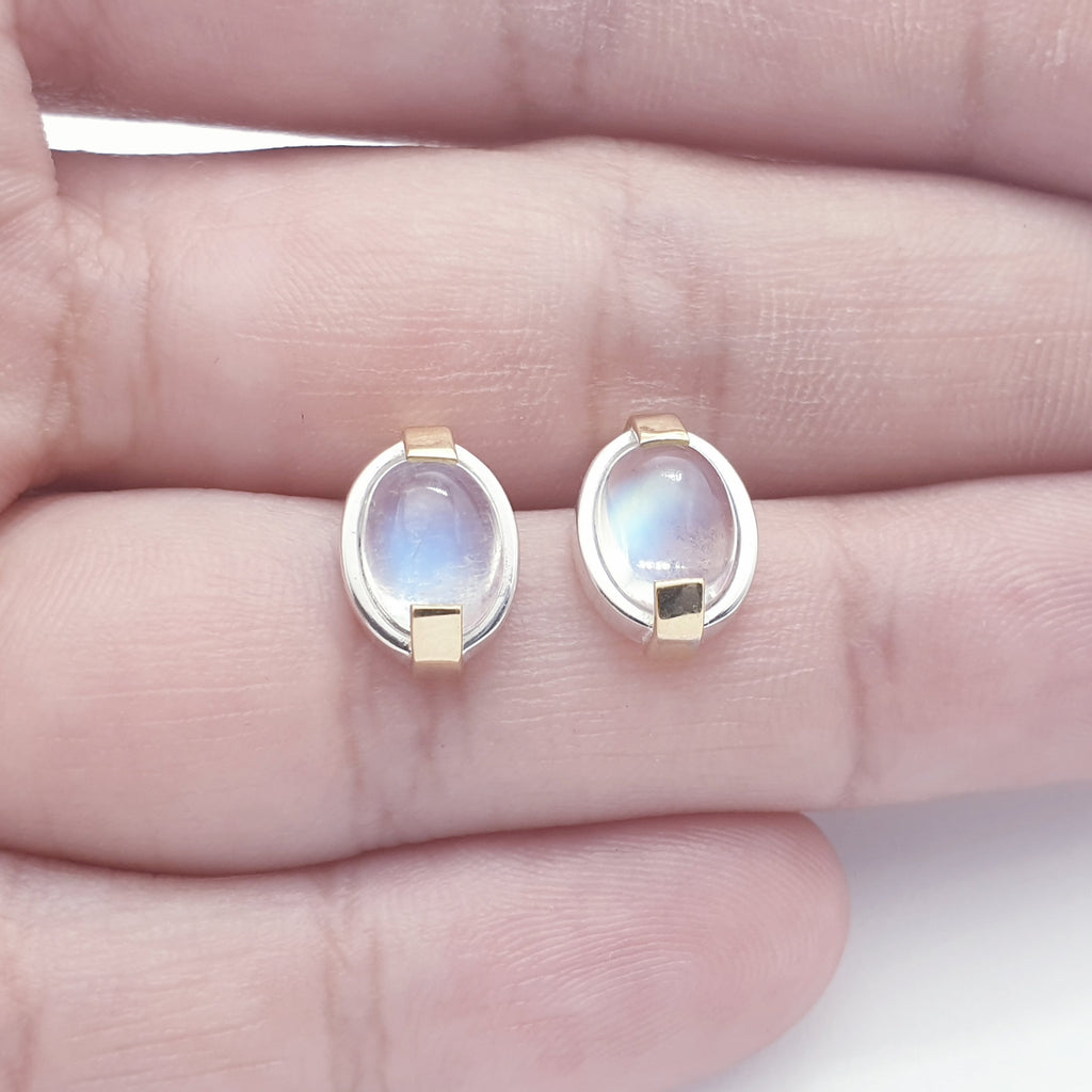 Blue Moonstone 18K Gold and Sterling Silver Studs
