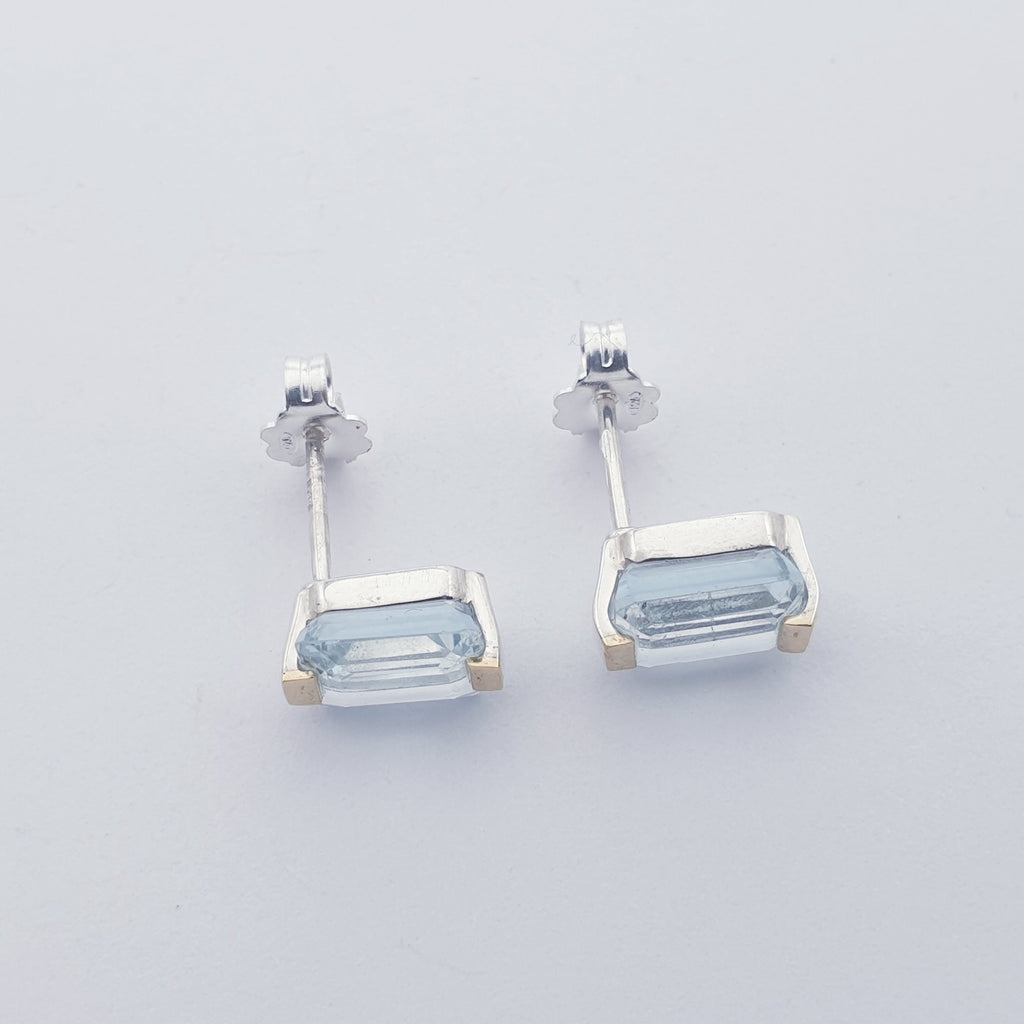 Blue Topaz 18K Gold and Sterling Silver Studs