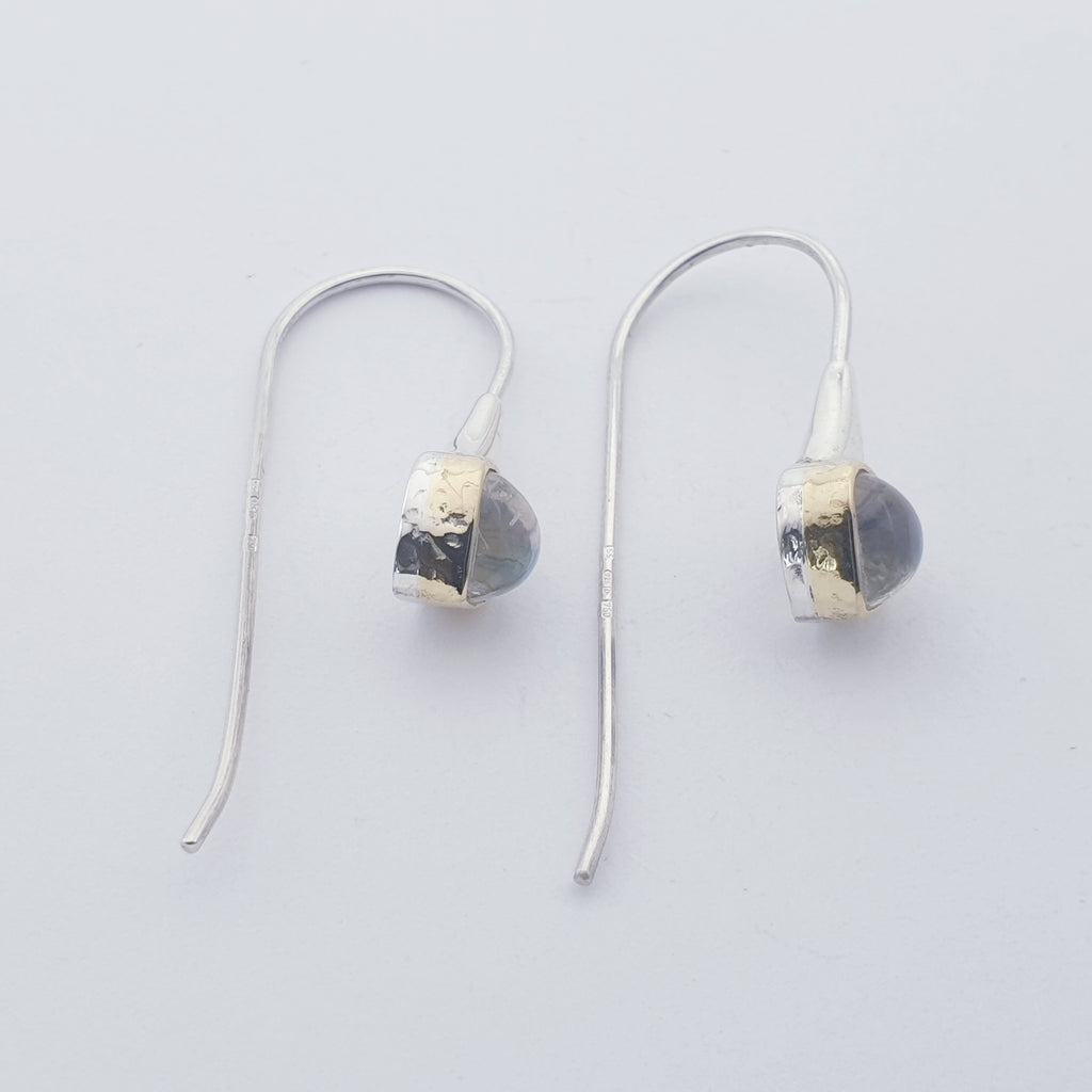 One-off Blue Moonstone 18K Gold and Sterling Silver Earrings