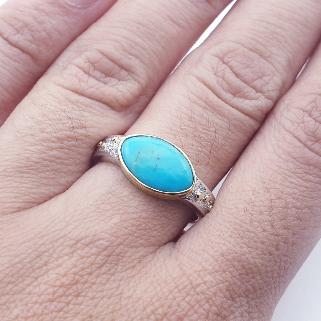 One-off Turquoise 18K Gold and Sterling Silver Ring - Size N1/2